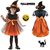 Halloween Witch Costume Girls Kids Children Dress Party Dresses and Hat Cool Creative
