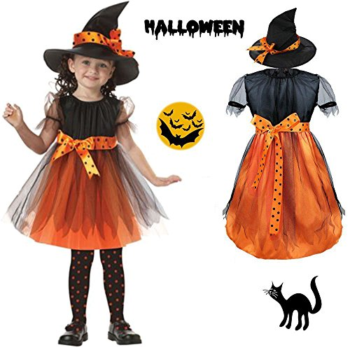Halloween Witch Costume for Kids Girls Children Party Dresses and Hat Cool Creative (90's Kid Halloween Costume)