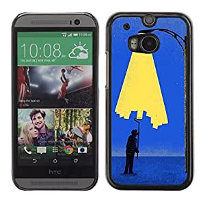 Shell-Star Arte & diseño plástico duro Fundas Cover Cubre Hard Case Cover para HTC One M8 ( Painting City Light Wall Street Art Lamp Post )