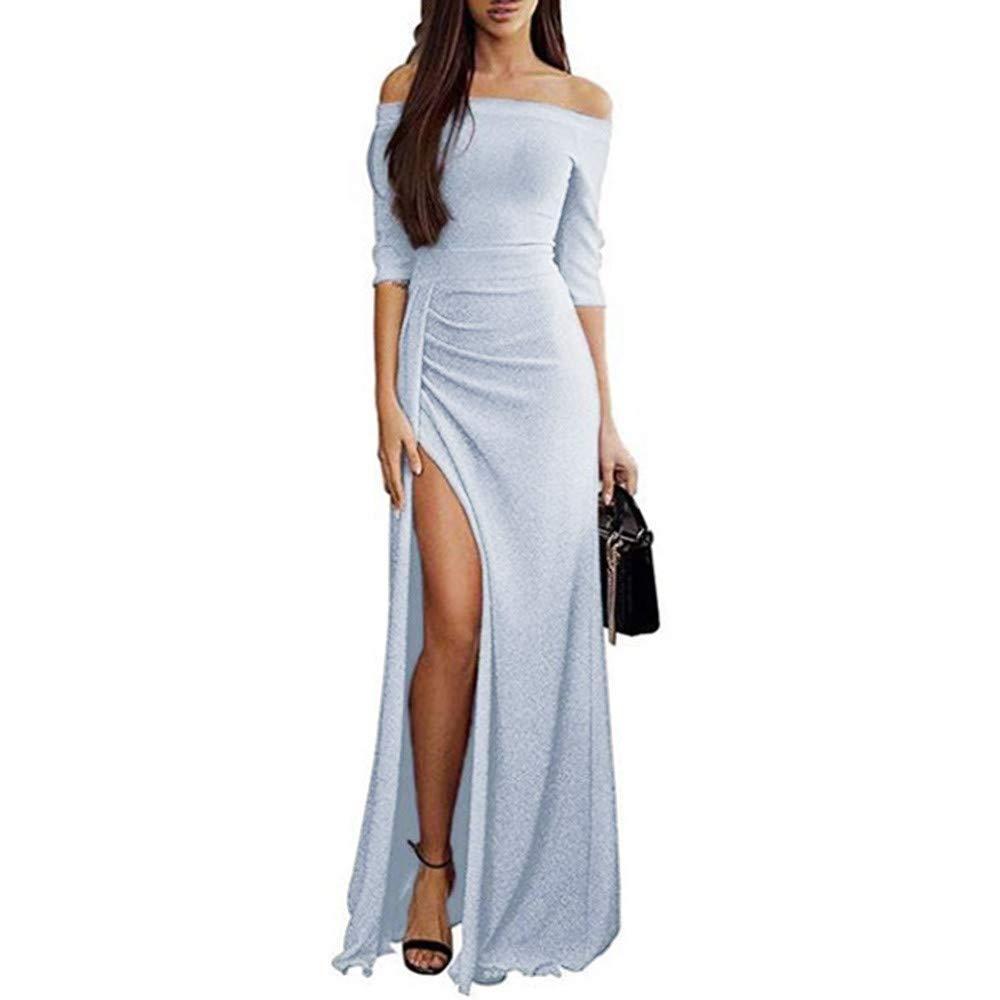 ┃BYEEEt┃ Gonna Senza Spalline Paillettes Abito in Donna off Shoulder Bodycon Dress Donna Paillettes Vestito Formale da Sera Lungo Abiti da Cocktail 3//4 Maniche