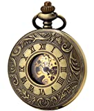 SEWOR Business Double Open Skeleton Pocket Watch Mechanical Hand Wind Movement Full Hunter Gift (Bronze)