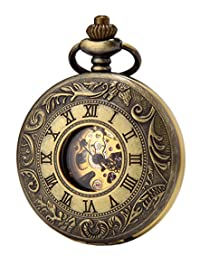 SEWOR Double Open Skeleton Pocket Watch Mechanical Movement Hand Wind Full Hunter With Leather Gift Box (Bronze)