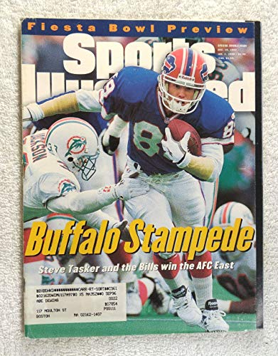 Buffalo Stampede - Steve Tasker & the Buffalo Bills defeat the Miami Dolphins to win the AFC East Title - Sports Illustrated - December 25, 1995 - January 1, 1996 - Fiesta Bowl Preview - SI