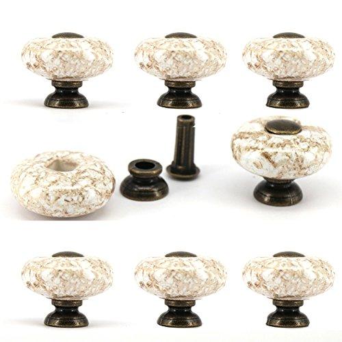 Porcelain Pulls Drawer (Vita Hardware European ceramic chest knobs 32mm porcelain marble wardrobe door pull handle cabinet furniture drawer knobs Pack of 8)