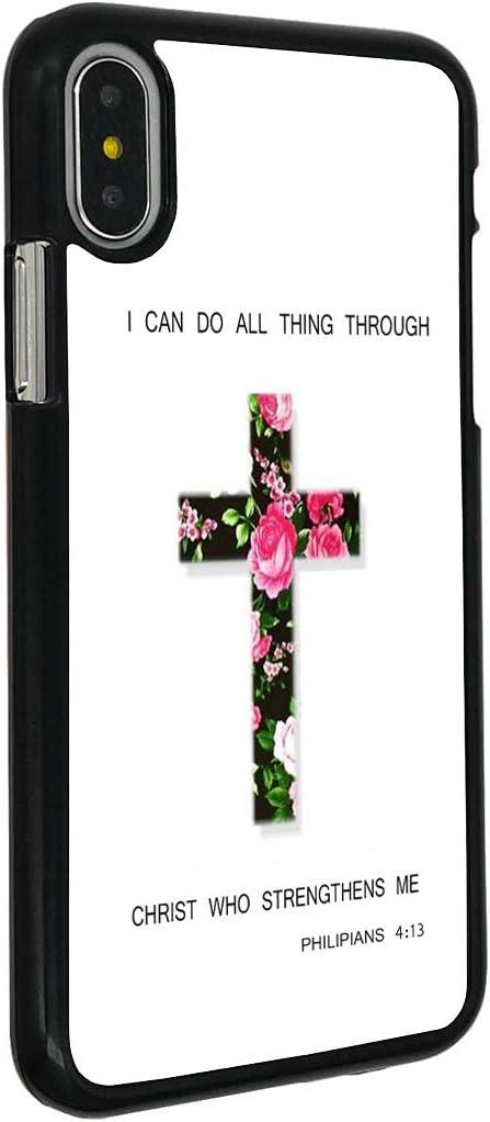 Amazon Com Iphone Xr Case Boslive Christian Bible Verse Philippians 4 13 Flower Cross Background Design Hard Plastic Cover Anti Scratch Protective Phone Case Compatible Iphone Xr 6 1