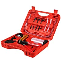 Hand Held Vacuum Pump Tester Set Vacuum Gauge and Brake Bleeder Kit for Automotive with Adapters, Case from PETZE