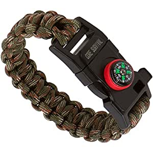 """Core Survival Paracord Survival Bracelet - Hiking Multi Tool, Emergency Whistle, Compass for Hiking, Camp Fire Starter 5-in1 Set (Army Camo, 9"""" Small)"""