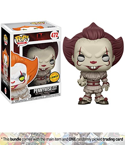 Pennywise [w/ Boat] (Chase Edition): Funko POP! Movies x It Vinyl Figure + 1 Classic Horror & Sci-fi Movies Trading Card Bundle (20176)