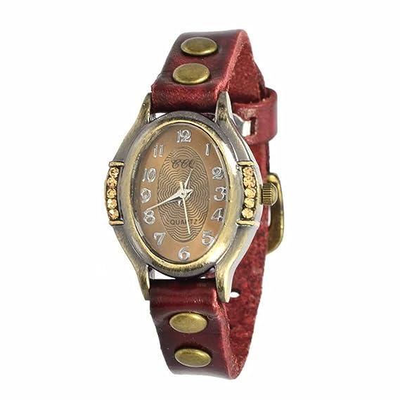 Reloj de Pulsera Agujas quarzo Cuero Joya Reloj Mujer Xena Rojo Regalo: Amazon.es: Relojes