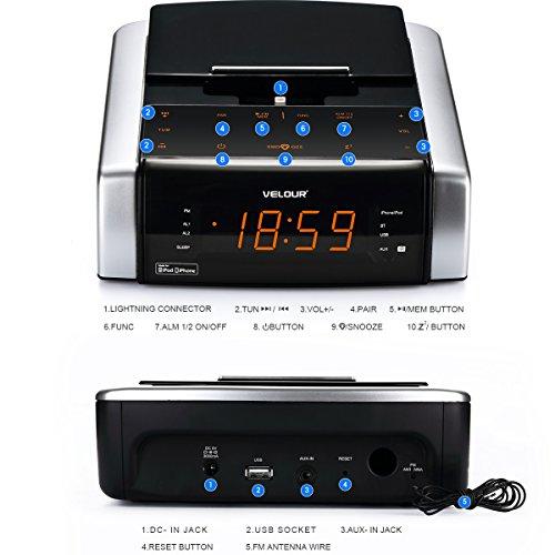 VELOUR Apple Speaker Dock with FM Radio Clock Alarm for iPhone x, 8, 8plus, 7, 7plus, 6 , 6s, 6splus, 5, 5s [Apple MFi Certified]