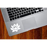 Lotus Flower - Design 1 - Trackpad / Keyboard - Vinyl Decal (Color Variations Available) (White)