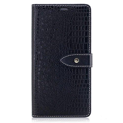 Trumpshop Smartphone Carcasa Funda Protección para Sony Xperia XZ [Azul Profundo] Patrón de Piel de Cocodrilo PU Cuero Caja Protector Billetera Choque Absorción Negro
