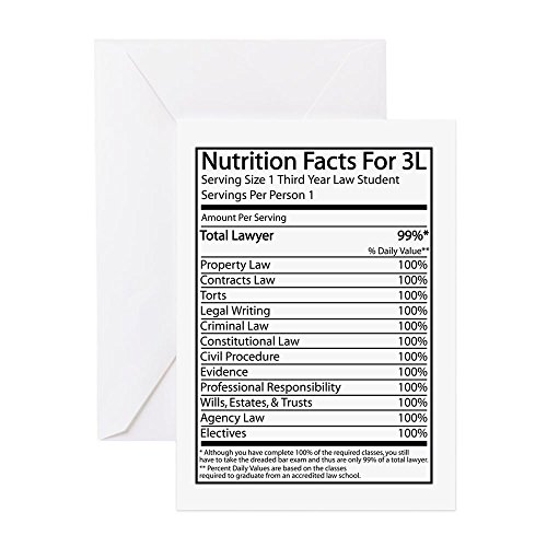 Attorney Greeting Cards - CafePress - Nutrition Facts For 3L - Greeting Card, Note Card, Birthday Card, Blank Inside Glossy