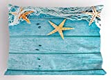Ambesonne Starfish Decor Pillow Sham, Rustic Wood Boards Fishing Net and Ocean Animals Nautical Print, Decorative Standard Queen Size Printed Pillowcase, 30 X 20 inches, Turquoise White Orange