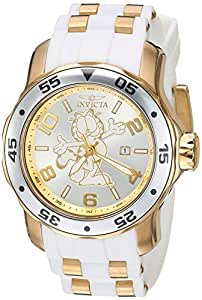 Invicta Men's 'Garfield Collection' Quartz Stainless Steel and Silicone Casual Watch, Color:White (Model: 25156)
