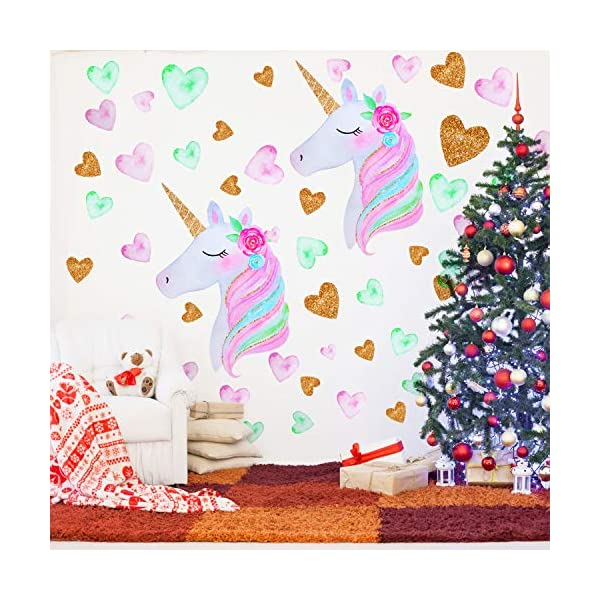 2 Pieces Large Size Unicorn Wall Decal Unicorn Decor Unicorn Wall Stickers Colorful with Heart Flower for Kids Bedroom, Nursery Room, Living Room Decor 8
