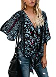 Dokotoo Womens Plus Size Summer Casual Short Sleeve V Neck Floral Tie Front Flare Tops Loose Chiffon Blouses T Shirts Black XX-Large