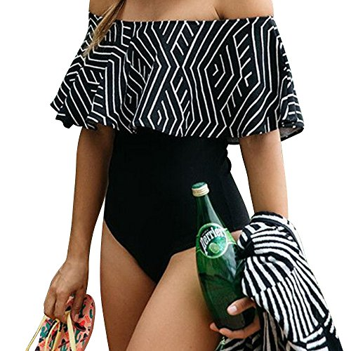 iLoving Women Sexy Off-The-Shoulder One-Piece Swimsuit Padded Push Up (Black On Black Suits)