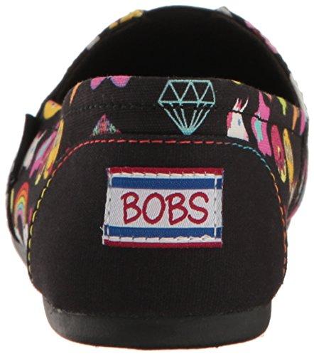 Skechers Bobs de Las Mujeres De Peluche Fashion Sandalias Planas Negro (Emoji)