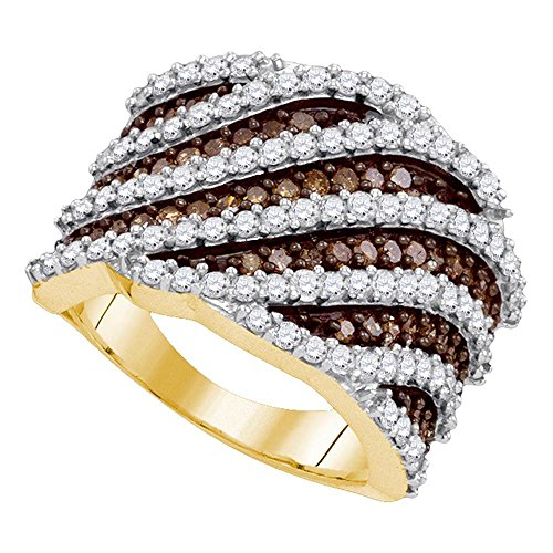 Diagonal Stripes Ring (10kt Yellow Gold Womens Round Brown Color Enhanced Diamond Diagonal Stripe Fashion Ring 1-7/8 Cttw)