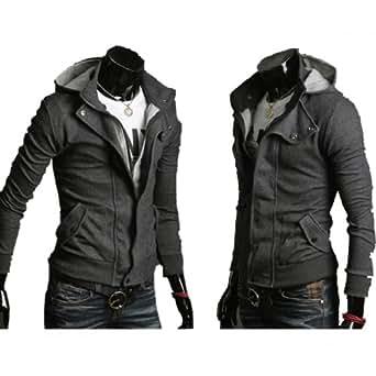 Leegoal Mens Casual Luxury Buckle Top Designed Jacket Hoodie Slim Sweatshirt Coat (XL, Gray)