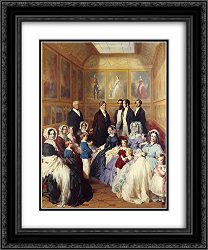 Franz Xaver Winterhalter 2x Matted 20x24 Black Ornate Framed Art Print 'Queen Victoria and Prince Albert with the Family of King Louis Philippe at the Chateau - Galleria Louis At