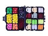OKVGO 340PCS/Box Sea Carp Fishing Tackle Box of Fake Imitation Artificial Plastic Baits [ Sweetcorn + Beads + Worm Lures ]