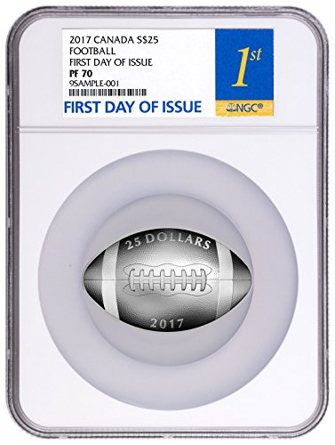 Coin Silver Shaped (2017 CA Canada Football-Shaped 1 oz Silver Proof Coin $25 PF70 FDI NGC)