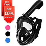 EXPLOMOS Snorkel Mask, Diving Snorkeling Mask with Gopro Mount 180° Full Face Panoramic View Anti-Fog Anti-Leak Easybreath Dry Snorkeling Scuba Dive Equipment Safety for Adults Youth Kids(Black S)