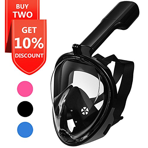 Snorkel Mask, Explomos Diving Snorkeling Mask with Gopro Mount 180° Full Face Panoramic View Anti-Fog Anti-Leak Easybreath Dry Snorkeling Scuba Dive Equipment Safety for Adults Youth Kids