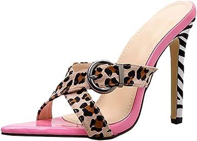 Zapatos de tacón niña Rosa,ZARLLE Sandalias de tacón Alto para Fiestas Pink Leopard Women Slip-On Punta Abierta Dedo del pie Abierto Super High Spike Heel Sexy Shoes: Amazon.es: Ropa y accesorios