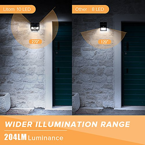 LITOM UPGRADED SOLAR LIGHTS OUTDOOR 10 LED, Super Bright Motion Sensor Solar Security Lights with Waterproof Wireless Design for Step Patio Garden Yard Porch Garage (4 Pack)