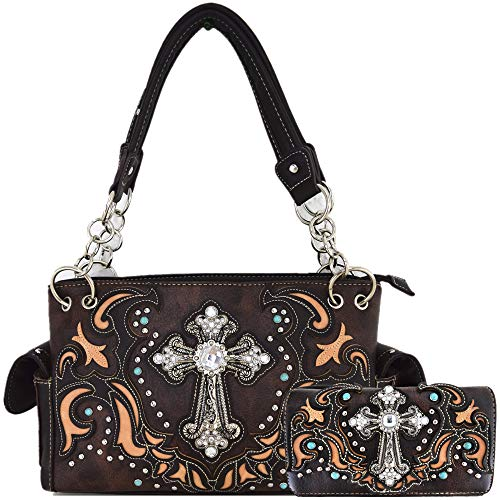 (Western Style Rhinestone Cross Stud Concealed Carry Purse Laser Cut Handbag Women Shoulder Bag Wallet Set (Coffee Set))