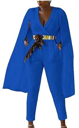 Amazoncom Zxfhzs Cloak Cape Jumpsuit Womens Sexy Deep V