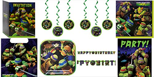 Nickelodeon Teenage Mutant Ninja Turtles Birthday Party Supply Bundle Pack, Serves 8 - Door Poster, 5 Ft Banner, 6 Hanging Decorations, 8 Goody Treat Bags, 8 Plates, Napkins, 8 TMNT Invitations]()