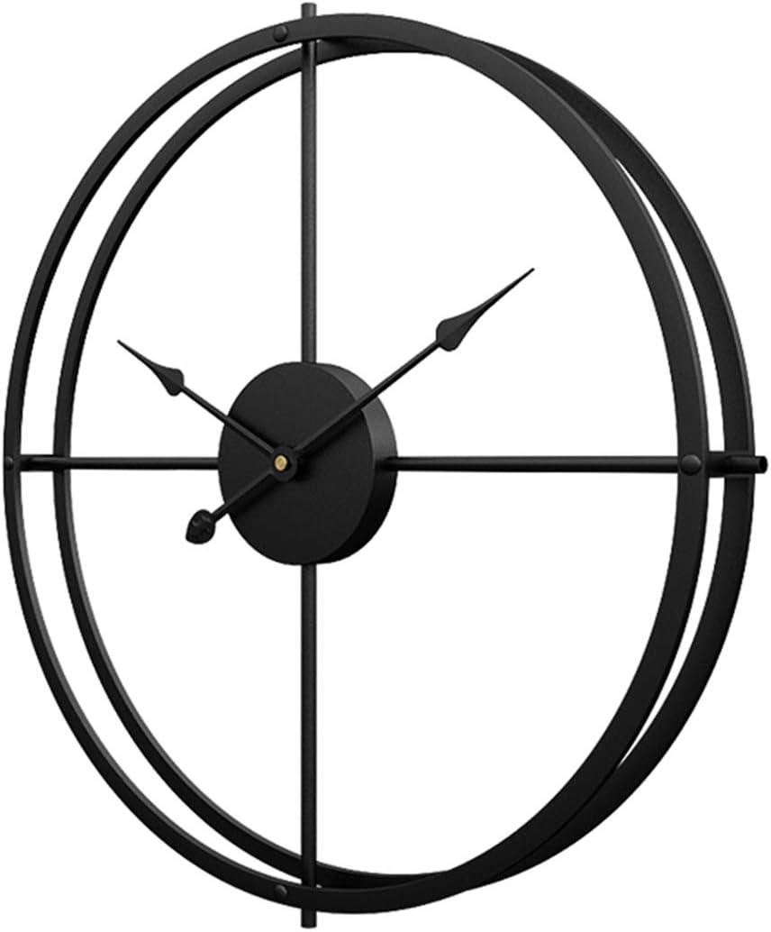 H0_V Reloj de Pared Vintage, 60cm Grande Reloj de Pared Silencioso Hierro Decoración Adorno para Hogar Habitación