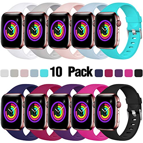 Haveda Sport Band Compatible for Apple Watch 38mm 40mm, Women iWatch Wristbands for iWatch, Apple Watch Series 4, Series 3, Series 2, Series 1 Men Kids, 10Pack 38mm/40mm S/M