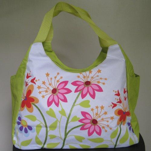 Grand Sac de plage - Fleurs vertes - Taille 33 x 51 x 23 cm