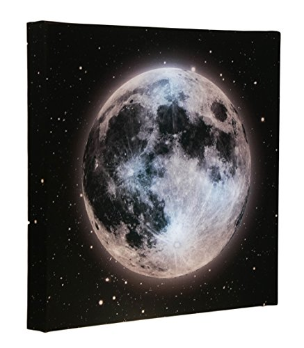 Clever Creations Light Up Canvas Wall Art Moon in Starry Night Sky Wall Art with LEDs | 12