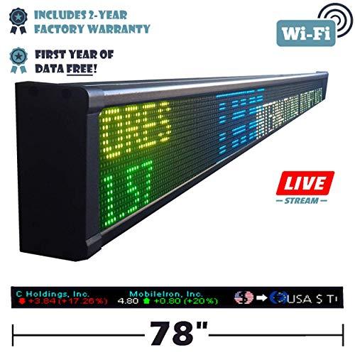 Tickercom Titan Series 63-78 - 93 INCH Sports Ticker Sign with Live Content (78) (Best Live Stock Ticker)