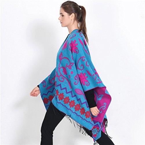Echarpe Chale Femmes Fleurs Fonc Automne Chaud Bleu Capes Oversized ZKOO Poncho Impression Poncho Cachemire Couverture Hiver qCzgfxTw