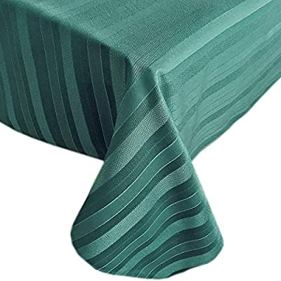 "Newbridge Christmas Satin Stripe No-Iron Soil Resistant Fabric Holiday Tablecloth, 60"" x 84"" Oval, Hunter Green - Christmas Satin Stripe No-Iron Soil Resistant Fabric Holiday Tablecloth, 60"" x 84"" Oval, Hunter Green Fits oval tables from 36 Inch x 60 Inch to 48 Inch x 72 Inch and Seats 6 to 8 People Christmas Satin Stripe Weave fabric tablecloths feature a contemporary woven textured design with a subtle visual texture - tablecloths, kitchen-dining-room-table-linens, kitchen-dining-room - 510N5oqMJXL. SS400  -"