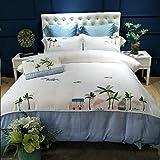 JIBUTENG Home Textiles Embroidery Satin Blue Beach Duvet Cover Set,Silky Tencel Summer Vacation Bedding Set Queen Size 4 Piece (Queen)