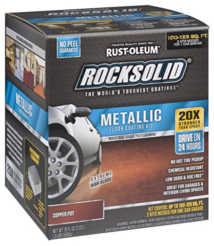 Rust-Oleum 286894 RockSolid Metallic Garage Floor Kit, Copper Pot, 70 Fl. Oz