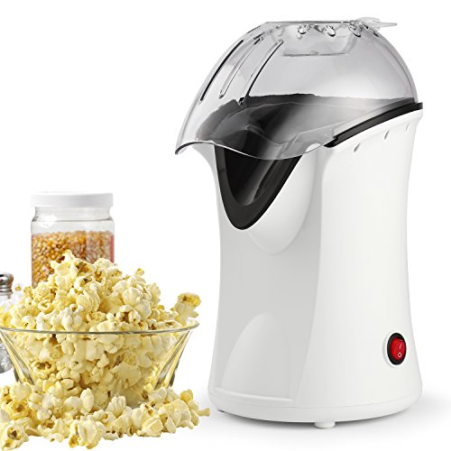 Popcorn Machine, 110V 1200W Healthy Hot Air Popcorn Maker, Best Home Popcorn Popper with Wide Mouth Design (White) by Flyerstoy