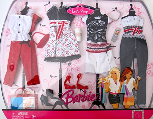 BARBIE LET'S SHOP FASHIONS w RED, WHITE & BLACK Color OUTFITS & SHOES (Barbie Wigs)