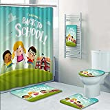 PRUNUSHOME 5-piece Bathroom Set-Includes Shower Curtain Liner,welcome back to school school kids Print Bathroom Rugs Shower Curtain/Bath Towls Sets(Small)