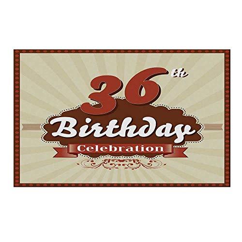 YOLIYANA 36th Birthday Decorations Durable Door Mat,Birthday Celebration Invite Chocolate Wrap Like Image for Home Office,19.6