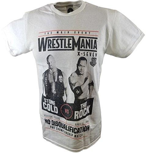Wrestlemania 17 Rock vs Stone Cold Steve Austin WWE Mens White -