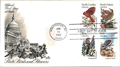 Cover Day Collectible First (State Birds and Flowers Block of Stamps Original First Day Cover)